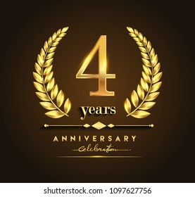 4th gold anniversary celebration logo with golden color and laurel wreath vector design.