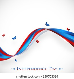 4th of July, American Independence Day concept with national flag colors waves and flying butterflies on abstract grey background.
