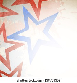 4th of July, American Independence Day grungy concept with red and blue stars.