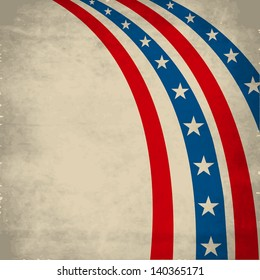 4th July, American Independence Day vintage background with national flag colors stripes.