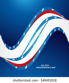 4th july american independence day flag wave background vector