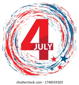 4th July American Independence Day design. Circular red and blue fireworks surround the number four.