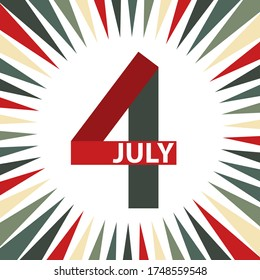 4th July American Independence Day design. Stylized number four in vintage colors.