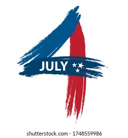4th July American Independence Day design. Grunge brush stroke design of the number four in blue and red colors.