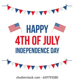4th of july, american independence day flat design vector illustration, card.