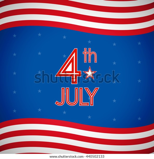 4th July, American Independence Day in flat icon design and star background (vector)