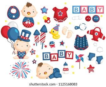 4th July Baby Vector Set