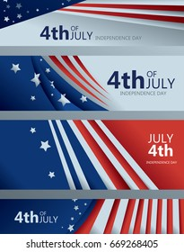 4th of July Banner Collection, American Flag, USA (Vector Art)