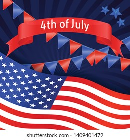 4th July banner with USA flag, garland and stars. Vector background for Independence day USA