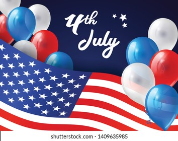 4th July banner with USA flag and balloons. Vector background for Independence day USA