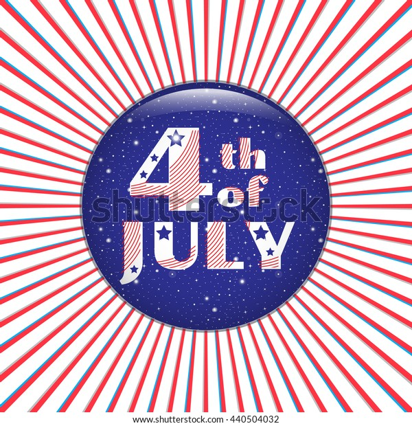 4th of July. Blue icon on a red radial background. Independence Day, July 4th greeting card. Vector illustration