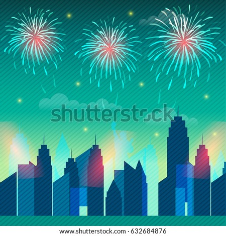 4th of july celebration background with view of new york city skyline and fireworks explosion