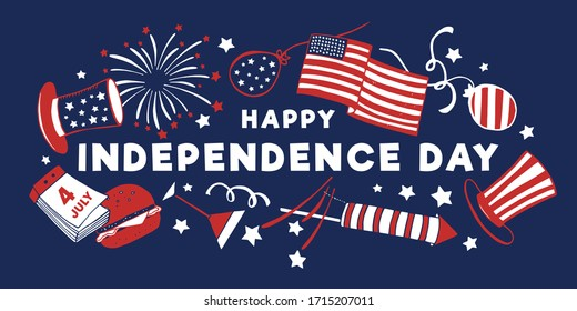 4th of July composition with title Happy Independence day and objects. Hand drawn vector sketch illustration