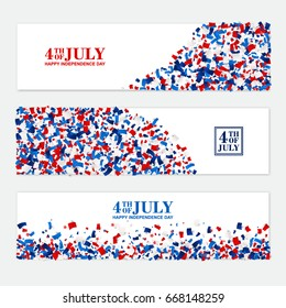 4th July festive horizontal banner set with scattered papers. USA Independence Day design kit in traditional American colors - red, white, blue.