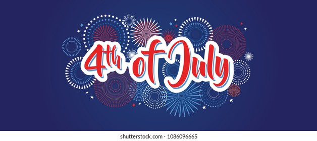 4th July fireworks background, fourth vector banner, American national flag decoration, celebration usa independence day illustration, symbol of united states freedom. vector illustration