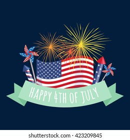 4th july fireworks background, fourth vector banner, american national flag decoration, celebration usa independence day illustration, symbol of united states freedom, patriotic holiday