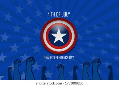4th of July greeting card with American star shield and protesters. Stars background. United States national colors and. Independence Day. Vector illustration.
