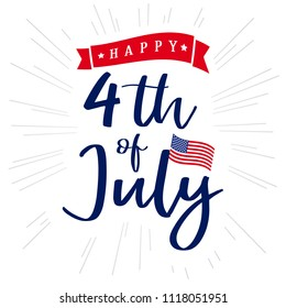 4th of July, Happy Independence Day of USA lettering and light beams design. Happy Independence Day United States of America vector calligraphic background. Fourth of July sale illustration