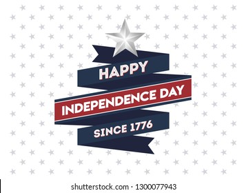 4th July Happy Independence Day. USA Independence Day Banner or Postcard or Poster or Flyer Template.