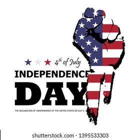 4th of July happy independence day of america . Fist flat silhouette design with american flag and text on white isolated background . Vector