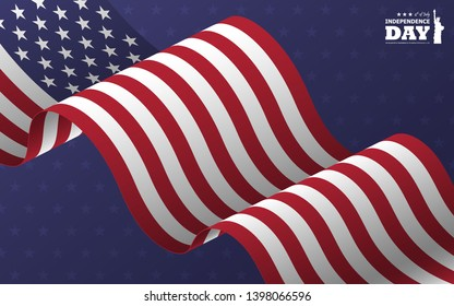 4th of July happy independence day of america background . Statue of liberty flat silhouette design with text and waving american flag oblique on blue star texture . Vector .