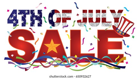 4th of July Happy Independence Day Sale Header American Flag Grunge Texture Outline Gold Star vector Illustration