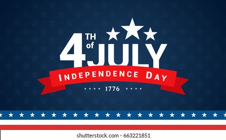 4th of July, Independence Day Banner on navy star pattern background, Vector illustration.