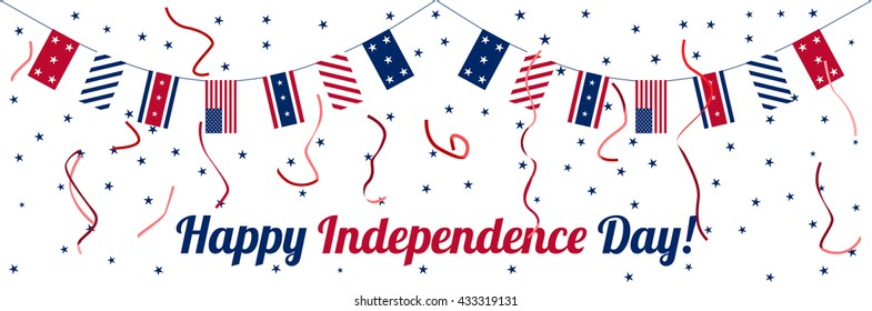 4th of July. Independence day celebration banner. National holiday. Poster, card or invitation design.