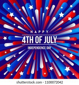 4th of July, Independence day - greeting design with USA patriotic colors firework burst rays. Vector illustration.