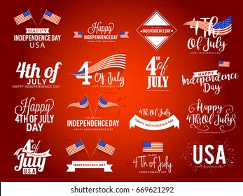 4th Of July Independence Day Lettering Design set.