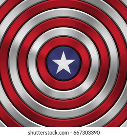 4th of July Independence Day metal background with circular polished, brushed concentric texture, chrome, silver, steel for logo, wallpapers, design concepts, web, prints. Vector illustration.