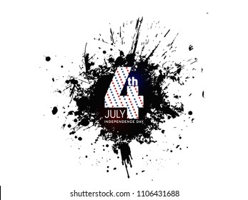 4th July, Independence Day With Stylish Flag Wave, Grange Black Paint Spray Texture Abstract Background Illustration....