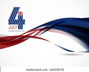 4th July, Independence Day with stylish flag wave abstract background Illustration....