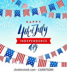 4th of July, Independence day - type design with brush calligraphy and USA patriotic flags garlands. Vector illustration.