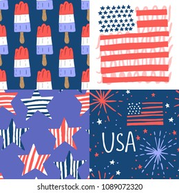 4th of July, Independence Day of the United States, seamless pattern design set. Hand drawing vector illustration