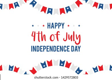 4th of july, independence day in the USA vector illustration, card with garlands and stars.