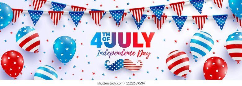 4th of July poster template.USA independence day celebration with balloons and garland of american triangle flag.USA 4th of July promotion advertising banner template for Brochures,Poster or Banner.