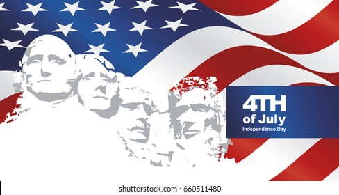 4th July Rushmore USA flag landscape background