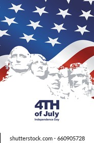 4th July Rushmore USA flag blue background