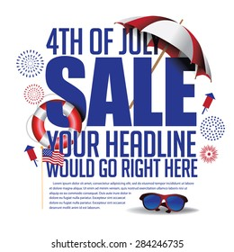 4th of July sale marketing template. EPS 10 vector.