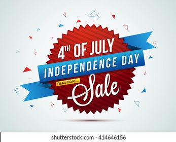 4th of July Sale, Sale Paper Banner, Sale Poster, Sale Flyer, Sale Background, Creative illustration in American Flag Colors for Independence Day celebration.