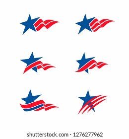 4th of July, Аmerican set of design elements, Stars and stripes, Flag, Star, Logo, Stripes design, Sticker set