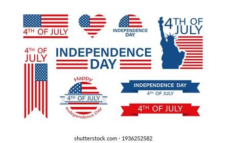 Der 4. Juli im flachen Stil. Unabhängigkeitstag USA, einzelne Vektorgrafik-Design.