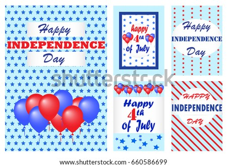 4th July Set Independence Day Background Stock Vector Royalty Free