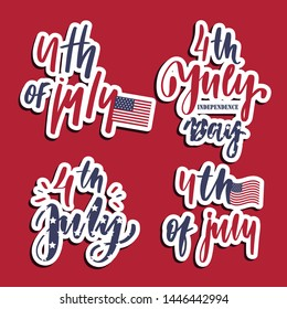 4th of july - set of  lettering card.