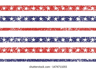 4th of July Stars Grunge Abstract Pattern, colored as USA Flag. Vector Illustration of Stars Grunge Background for Celebration Holiday American President Day, memorial day