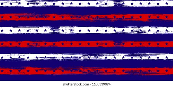 4th July Stars and Stripes Retro Seamless Vector Pattern in USA Flag Colors. American Independence Day vector of blue red white stars and stripes grunge background for holiday banner.
