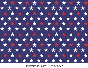 4th of July Stars and Stripes Seamless Pattern, colored as USA Flag. Vector Illustration of Stars Grunge Background for Celebration Holiday American President Day, Memorial Day