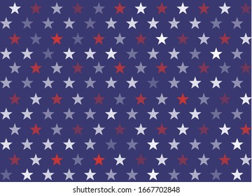 4th of July Stars and Stripes Seamless Pattern, colored as USA Flag. Vector Illustration of Stars America Background for Celebration Holiday American President Day, memorial day