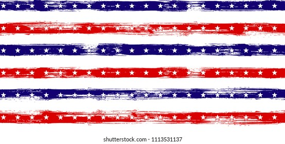 cdb49fdd89d 4th July Stars and Stripes Vintage Seamless Vector Pattern in USA Flag  Colors. American Independence